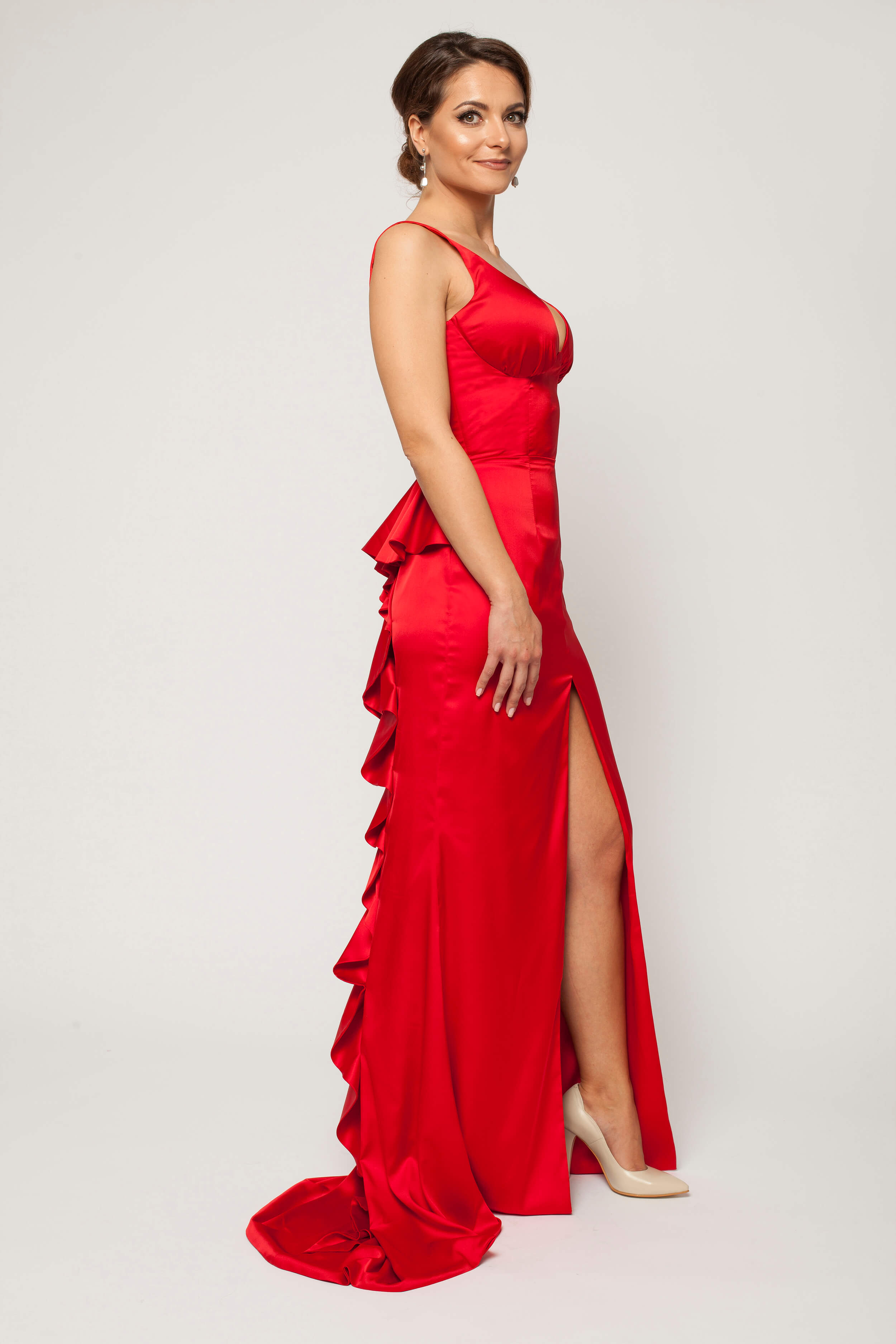 red long dress with flutter 1